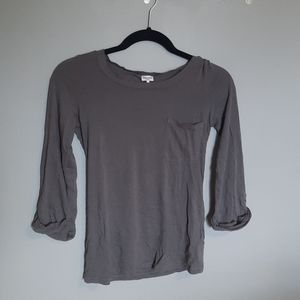 Soft Grey Long-sleeved Tee with Pocket